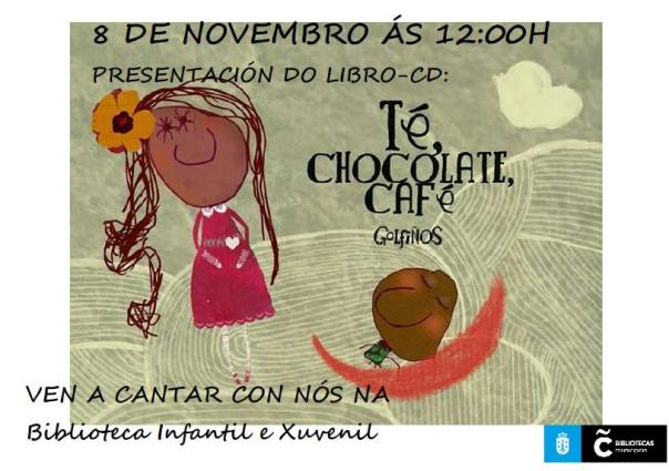 Cartel da presentación do libro-cd Té, chocolate, café