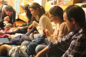 Momento de ximnasia no Bebencontro da Biblioteca Infantil e Xuvenil