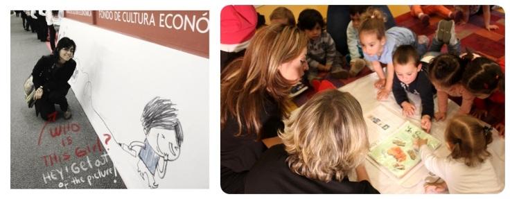 Paula Bossio, nun mural con outro dos protagonistas do conto. Compartindo a maleta viaxeira co alumnado de Xénese
